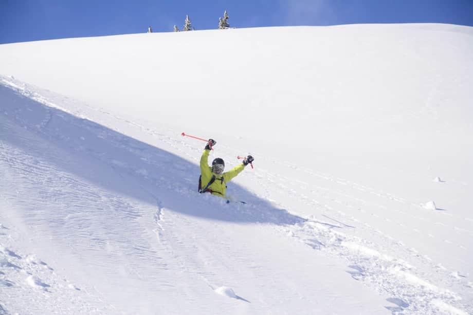skier having fun on slopes