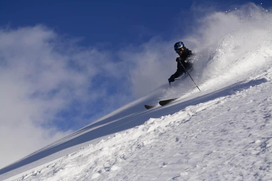 off piste skier on mountain
