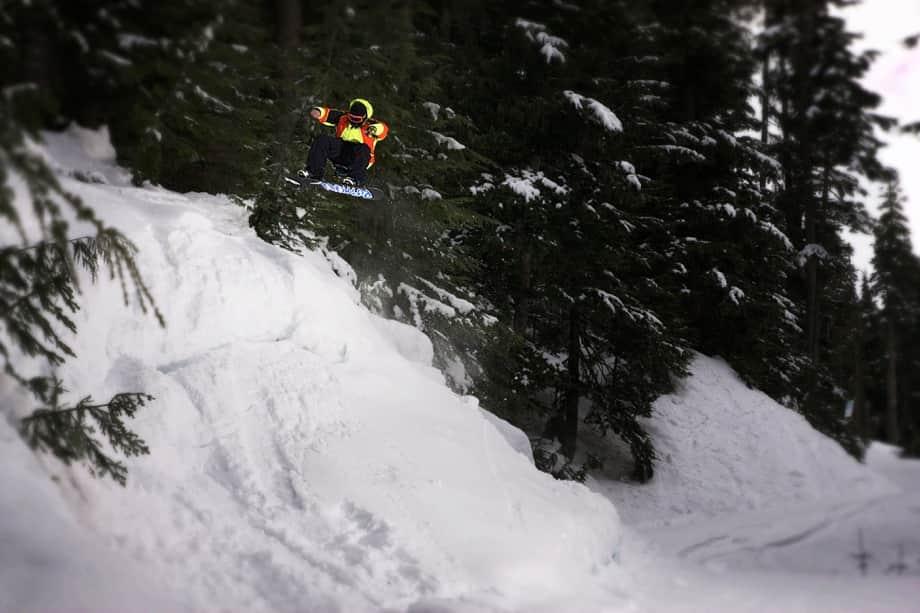 snowboard jump on mountain