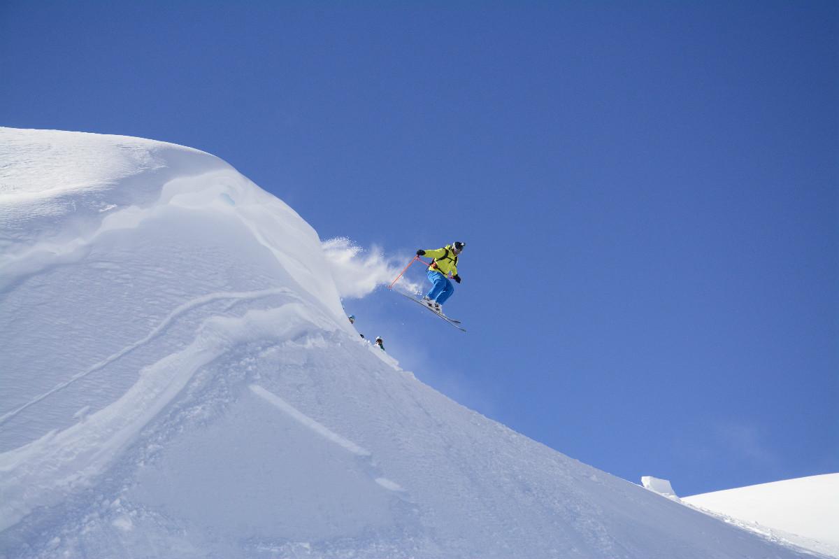 Epic-off-piste-ski-jump-in-Whistler-Canada